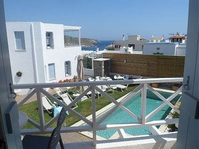 The view from our balcony at Anemomiloi Andros