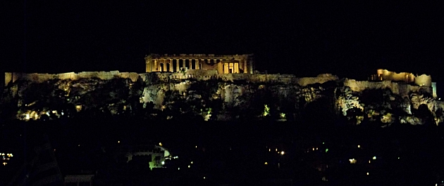 The Acropolis at night from our hotel rooftop bar.