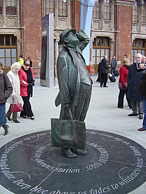 Sir John Betjeman at St Pancras station