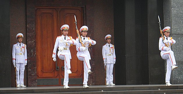 Changing of the guard at Uncle Ho's Mausoleum