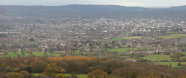 Cheltenham from Cleeve Hill looking SW towards Leckhampton Hill