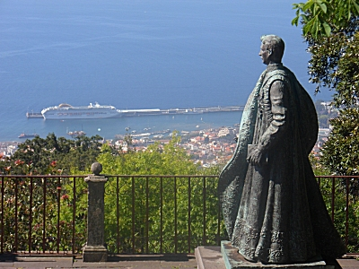 Funchal from Monte with Charles 1st of Austria statue