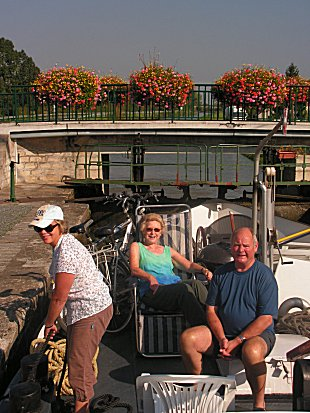 Sue and the Cliffords at a flowery lock