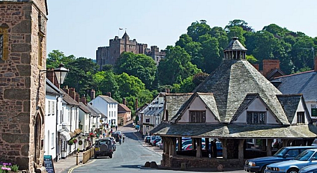 The Yarn Market and Castle, Dunster.