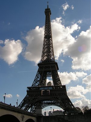 The Eiffel Tower decorated for the Rugby World Cup