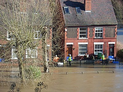 Bridgnorth low town houses flooded