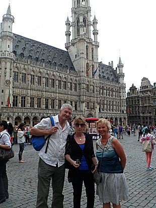 Andy, Gillie and Sue in the Grand Place in Brussels