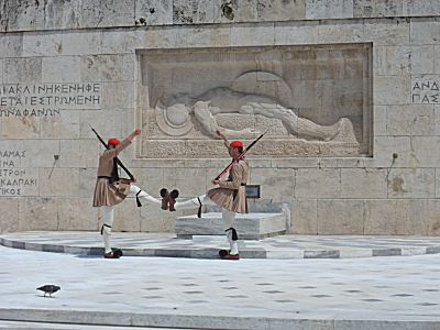 Greek soldiers in traditional dress at the tomb of the unknown soldier
