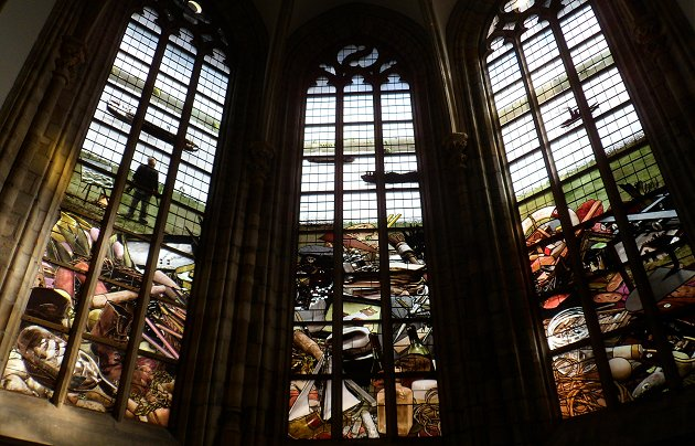 Modern Stained glass in the Grote Kerk Dordrecht representing the Guilds