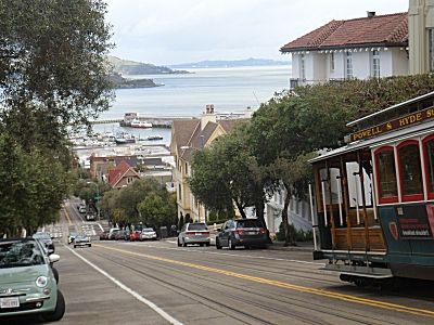 Cable car going down Hyde Street
