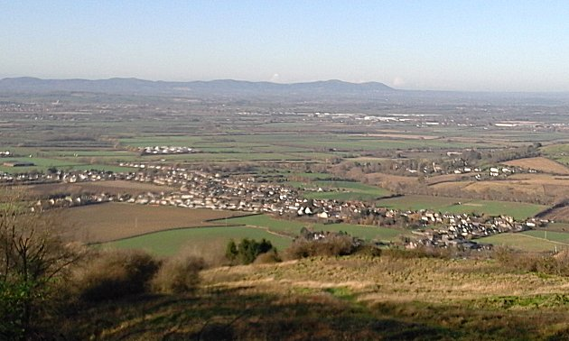 Looking across the vale of Evesham from the Cotswold escarpment.