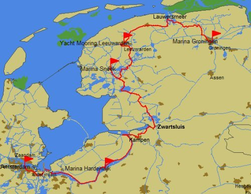 2010 route Groningen to Amsterdam