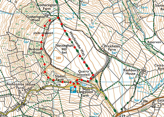 Cotswold walk map.