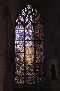 Stained glass window in cathedral in Mezieres