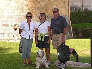 Sue with Eric, Sudy and Tallulah the dog