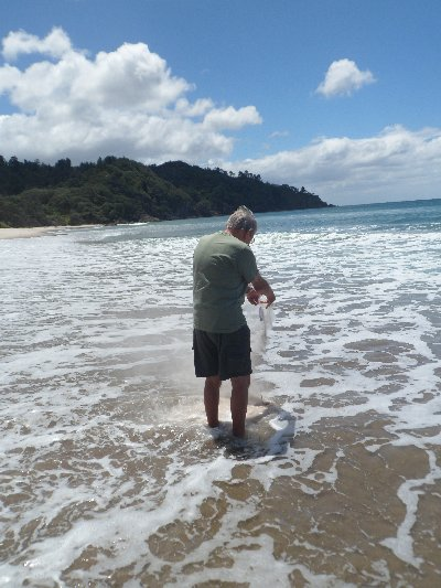 Consigning Sue's ashes to the Pacific Ocean