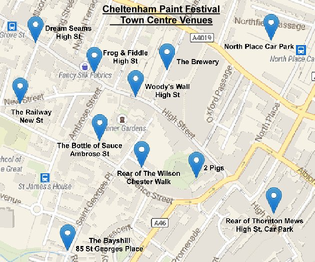 Map of Cheltenham Paint Festival Venues