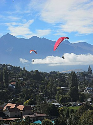 Paragliding over Queenstown, the view from our lodge balcony