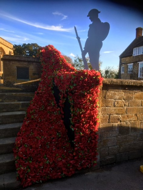 Cascade of poppies at South Petherton War Memorial