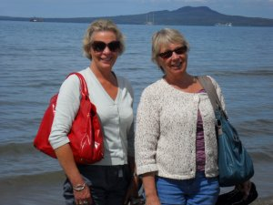 Sue and Carol with Rangitoto Island in background