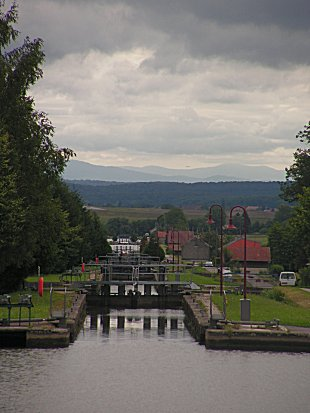 Looking down the top flight of locks to the Rhine Valley