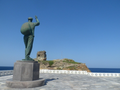Sculpture of Russian sailor at Andros town