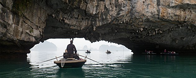 Sampans at Halong Bay