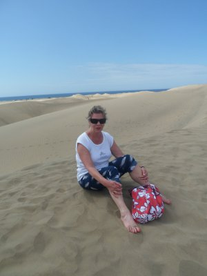 Sue on Maspalomas dunes