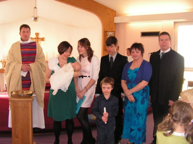 From L to R Vicar, Becky, Seren, Eliza, Henry, Will, Godmother and Tom