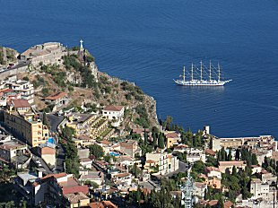 5 masted tall ship moored at Taormina