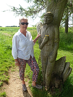 Sue with shepherd sculpture on Sherborne Estate