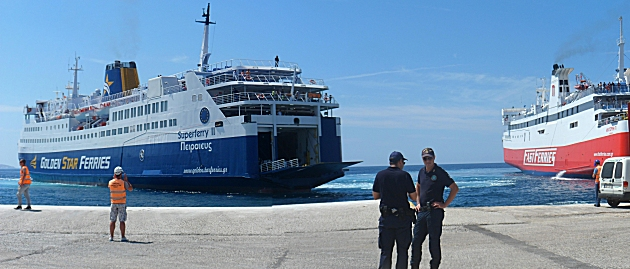 Superferry II docking at Tinos