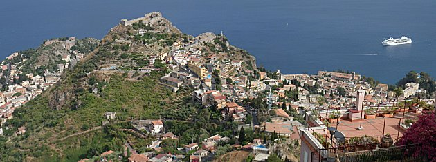 Taormina from our room balcony in Castelmolo