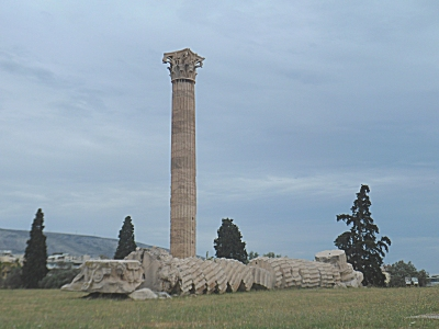 A fallen column at the Temple of Zeus.