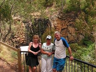 Gilly, Sue and Andy at Victorias highest waterfall