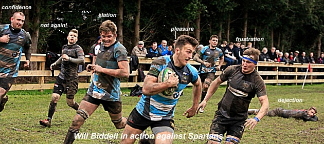 Bridgnorth full back Will Biddell about to score against Spartans