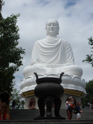 Big white Buddah at the Long Son Pagoda